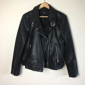 Topshop Lucky Faux Leather Moto Biker Jacket